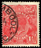 Lot 2467:1½d Red Die I - [17L31] Right end of 6th shading line missing adjacent to top right leaflet of right wattles