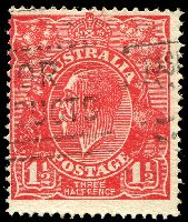 Lot 539:1½d Red Die I - BW #90(17)h [17L37] Two white flaws on kangaroo's shoulder - ACCC State II, Cat $90.