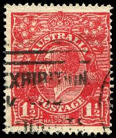 Lot 500:1½d Red Die I [17L48] Diagonal white flaw top right of lowest bloom in right wattles.
