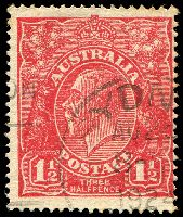 Lot 504:1½d Red Die I BW #90(17)o [17R21] Retouched SE corner, Cat $90
