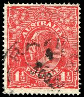 Lot 505:1½d Red Die I BW #90(17)t [17R28] Notched NW corner - ACCC State I, Cat $90