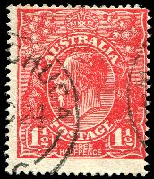 Lot 506:1½d Red Die I BW #90(17)vbb [17R48] White spots over S of AUSTRALIA and in front of emu's breast - additional white spot in King's hair - ACCC State IV - vertical flaw between 2nd & 3rd blooms in right wattles, Cat $90.