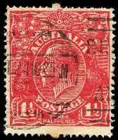 Lot 502:1½d Red Die I [17R51] Break in shading line near last small pearl on right side of crown - State II - white spot on emu's back