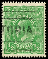 Lot 1191:½d Green Comb Perf - [2R40] White flaw affecting right most leaflet of left wattles