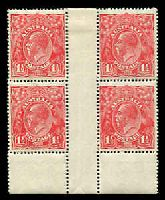Lot 349:1½d Red Die I BW #89(22)za No imprint block of 4, top units hinged, Cat $300.