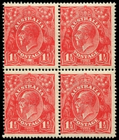 Lot 1541:1½d Red Die I - BW #89(16)k [16R60] Flaw above left wattles, BRC unit in block of 3, unit 53 State II large white flaw joins white oval & R of THREE, etc, unit 59 Thin white border under HALFPENCE etc, lower units MUH, Cat $40+.