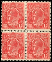 Lot 1528:1½d Red Die I - BW #89(16)d,e [16R1-2,7-8] unit 1 Cut lower frame and unit 7 Eight wattles at left - ACCC state II - white flaw above E of PENCE, evenly aged gum, lower units MUH, Cat $80+.