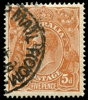 Lot 2364:5d Chestnut Die I Smooth Paper Single Line Perf - [1L4] Break in lower frame below left value tablet, white dot not present.