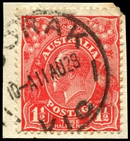 Lot 2711:1½d Red Die II - BW #92(1)i [1L50] Cut upper left frame, on piece.