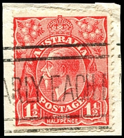 Lot 2417:1½d Red Die II - BW #92cb booklet plate Wmk inverted, on piece.