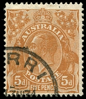 Lot 528:5d Orange-Brown Die II [2L57] Small compartment mark above and to right of crown top.