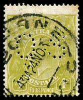 Lot 289:4d Olive: BW #115b perf 'OS', Cat $100.