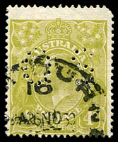 Lot 515:4d Olive BW #115b perf 'OS', rounded corner, Cat $100.