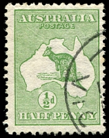 Lot 112:½d Green [2R53] Coloured dot in top left of first E of PENCE, small surface abrasion.