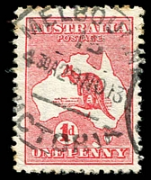 Lot 106:1d Red Die II BW #3(E)d [EL25] 'Extra Island' (Two Tasmanias) - early state, Cat $400.