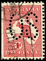 Lot 113:1d Red Die I BW #2ba perf large 'OS', Cat $10+, with straight vertical edges indicating probable use in Government coil dispenser, unusual.