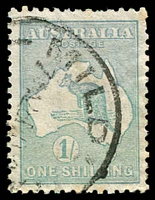 Lot 127:1/- Emerald Die II BW #32a Wmk Inverted, Cat $275.