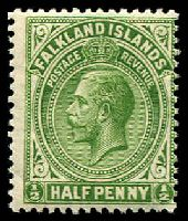Lot 21763:1921-28 KGV Wmk Mult Script CA SG #73 ½d yellow-green.