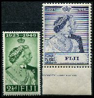 Lot 3545:1948 Silver Wedding SG #270-1 set of 2, £1 MUH marginal single, Cat £14.