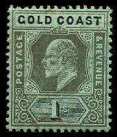 Lot 3548:1907-13 KEVII Wmk Multi Crown/CA SG #65 1/- black on green, slight red marks on face, Cat £26.