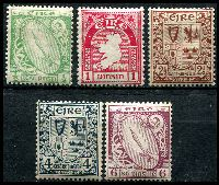Lot 3698:1922-34 Definitives SG #71,72,75,77,79 ½d, 1d, 2½d, 4d & 6d, MUH, Cat £19 as hinged.