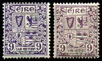 Lot 3701:1922-34 Definitives SG #80 9d x2 shades, MUH, Cat £30 as hinged.