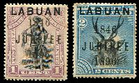 Lot 24806:1896 Jubilee SG #83-5 1c black & grey-mauve & 2c black & blue, both with tonespots, Cat £75.