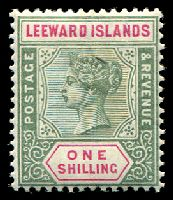 Lot 25252:1890 QV SG #7 1/- green & carmine, Cat £23.