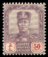 Lot 4120:1904-10 Sultan Sir Ibrahim Wmk Rosette SG #69 50c dull purple & red, Cat £45.