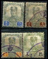 Lot 3846:1904-10 Sultan Sir Ibrahim Wmk Rosette SG #72-5 $3, $4, $5 & $10, fiscal cancels, Cat £495 for postally used.