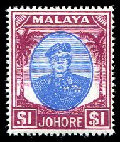 Lot 3850:1949-55 Sultan Sir Ibrahim Wmk Mult Script CA SG #145 $1 blue & purple, MUH, Cat £14.