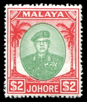 Lot 4121:1949-55 Sultan Sir Ibrahim Wmk Mult Script CA SG #146 $2 green & scarlet, Cat £32.