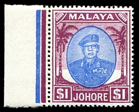 Lot 4310:1949-55 Sultan Sir Ibrahim Wmk Mult Script CA SG #145 $1 blue & purple marginal single, Cat £14