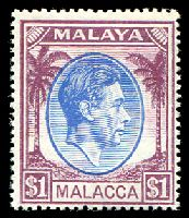 Lot 22755:1949-52 KGVI SG #15 $1 blue & purple, Cat £20.