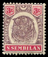 Lot 25222:1895-99 Tiger SG #7 3c dull purple & carmine, MUH, aged gum, Cat £18.