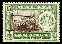 Lot 3932:1957-93 Pictorial SG #79a $5 brown & bronze-green P13x12½, MUH, Cat £32.