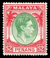 Lot 25572:1949-52 KGVI SG #21 $2 green & scarlet, Cat £23.