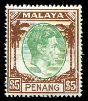 Lot 25573:1949-52 KGVI SG #22 $5 green & brown, MUH, Cat £48.