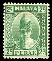 Lot 3869:1938-41 Sultan Iskandar SG #104 3c green, Cat £14.