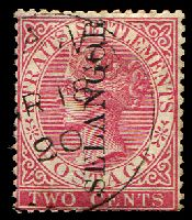 Lot 25608:1885-91 Ovpts on Straits Settlement SG #40 type 32 on 2c pale rose, Cat £50.