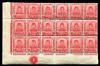 Lot 25622:1910-19 Sultan Zain Ul Ab Din SG #5a 4c carmine-red BLC block of 18 (6x3) with control 1, MUH, Cat £22.50++.