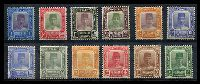 Lot 3877:1921-37 Sultan Suleiman SG #27-42 2c, 3c reddish brown, 4c, 6c, 8c, 10c, 12c, 20c, 25c, 30c, 50c & $1 (small surface abrasion), Cat £96. (12)