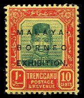 Lot 3945 [3 of 5]:1922 Malaya Borneo Exhibition SG #49-56 4c, 10c, 25c, 30c & 50c, Cat £33. (5)