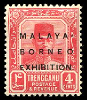 Lot 3945 [4 of 5]:1922 Malaya Borneo Exhibition SG #49-56 4c, 10c, 25c, 30c & 50c, Cat £33. (5)