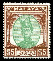 Lot 3879:1949-55 Sultan Ismail SG #87 $5 green & brown, Cat £75.