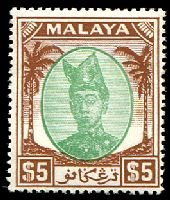 Lot 3920 [1 of 2]:1949-55 Sultan Ismail SG #86-7 $2 & $5, Cat £120.