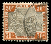 Lot 3914:1900-01 Wmk Crown/CA SG #22b 50c grey-brown & orange-brown, creased, Cat £50, part Kuala Kubu cds.