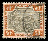Lot 21709:1900-01 Wmk Crown CA SG #22b 50c grey-brown & orange-brown, creased, Cat £50, part Kuala Kubu cds.