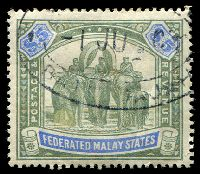 Lot 22785:1900-01 Wmk Crown CC SG #25a $5 green & pale ultramarine, Cat £425, fiscal datestamp