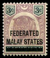 Lot 3823:1900 'FEDERATED/MALAY STATES' on Negi Sembilan SG #3 3c dull purple & black